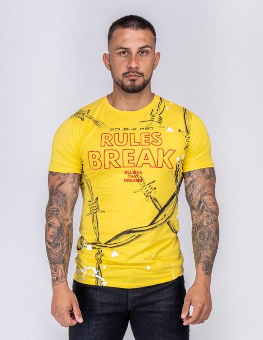 DOUBLE FUN T-shirt RULES BREAK Yellow