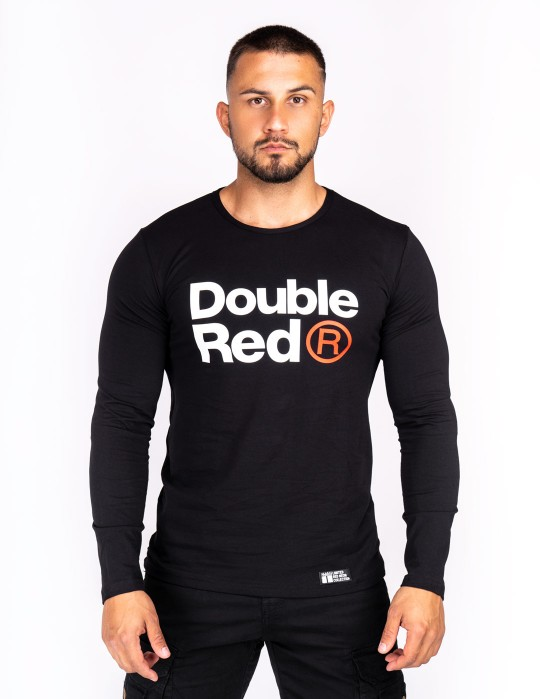 Red Neon Long Sleeve T-Shirt Black