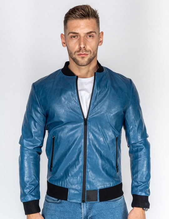 SOPRANO Leather Jacket Blue