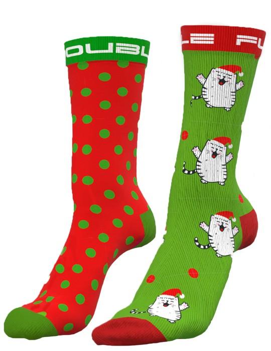 DOUBLE FUN Socks Santacat