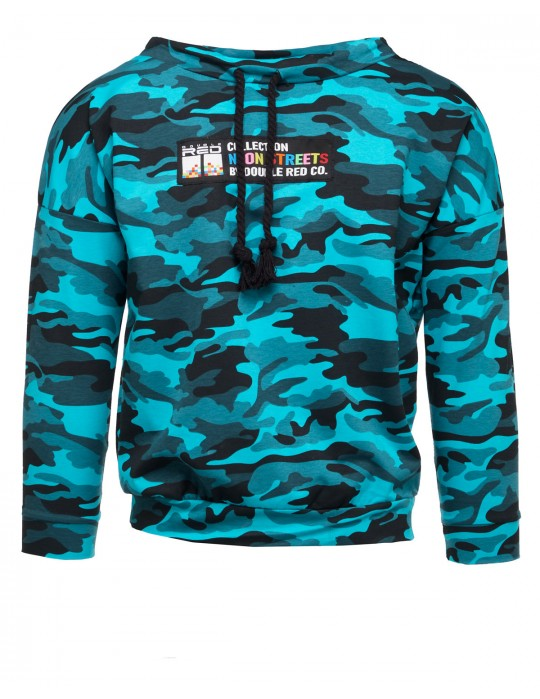 Sweatshirt Neon Streets Collection Camo Blue Turquoise