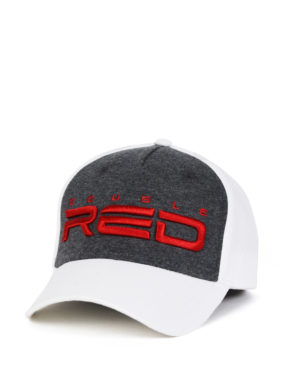 JERSEY DOUBLE RED 3D Embroidery Cap Grey/White