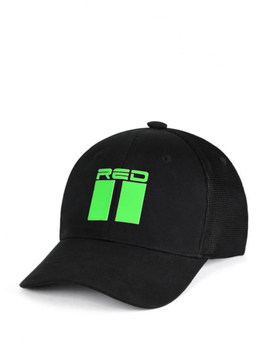 DOUBLE RED 3D Black Cap NEON Green